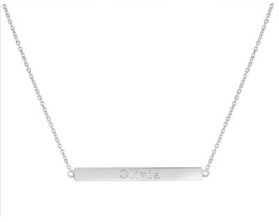 Sterling Silver Long Bar Necklace