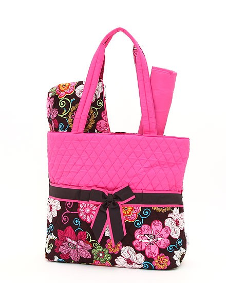 Belvah Quilted Diaper/Tote Bag - Floral