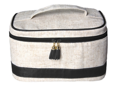 Linen and Moire Train Case