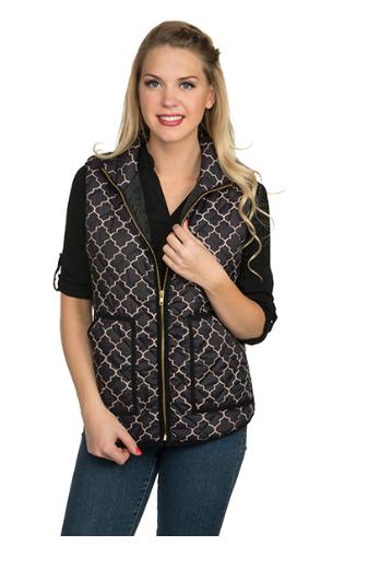 Savannah Quatrefoil Puffer Vest