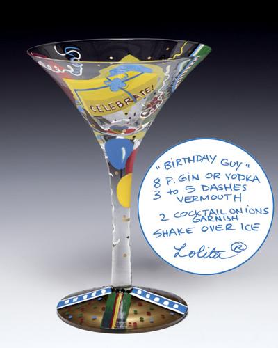 Lolita Birthday Guy-Tini Martini Glass