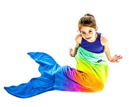 Blankie Tails Rainbow Ombre Mermaid Blanket