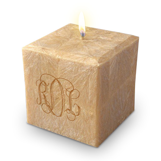 Carved Solutions Monogrammed Candle