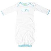 Seersucker Trimmed Infant Gown