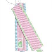 Seersucker Pacifier Clip Set- Pink