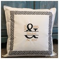 Canvas Greek Key Pillow