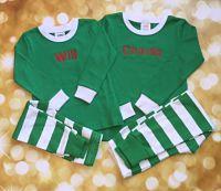 Children's Green Striped Christmas Pajamas