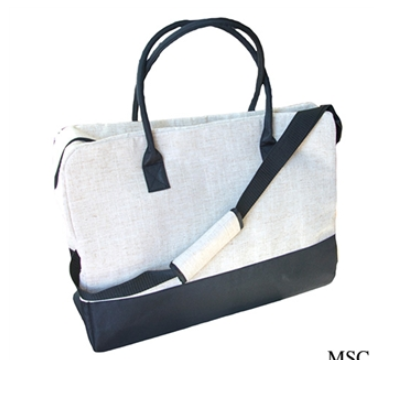 Linen and Moire Duffle Bag