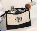 Linen and Moire Cosmetic Tote