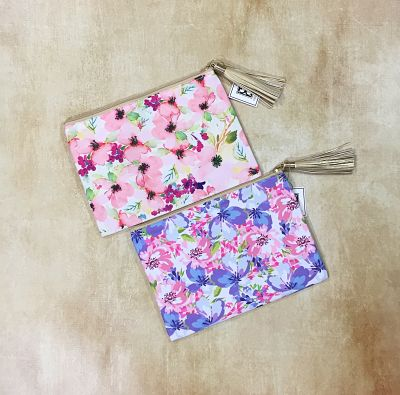 Mary Square Floral Zippered Pouch