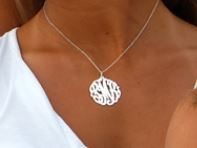 Sterling Silver Monogram Pendant Necklace